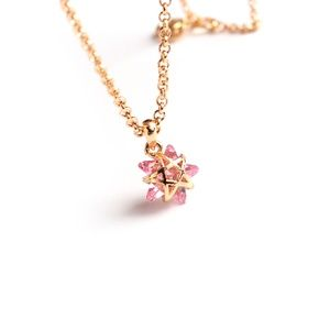 CatstoneNYC Pink Crystal Star Pendant Necklace